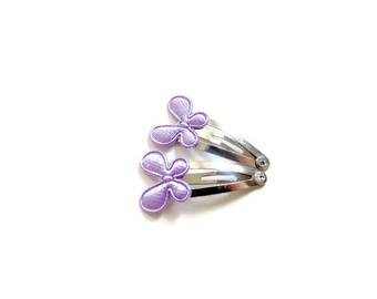 Purple Butterfly Hair Clips/ Tiny Hair Clips For Baby/ Purple Satin Hair Clips/ Baby Hair Clips/ Satin Butterfly Hair Clips