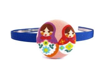 Matryoshka Headband/ Babushka Headband/ Blue Headband/ Russian Doll Headband/ Girl Headband/ Toddler Headband/ Children Headband