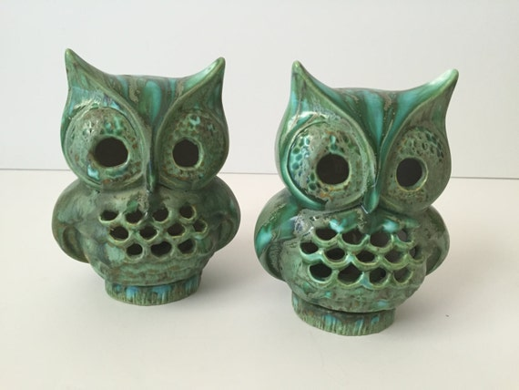 Vintage Ceramic Owls Owl Table Top Decor Mid By