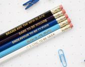 BLUE GEEK PENCILS Set Ombre Colourful Retro Hex Hand Pressed Gold Type Fun Geek Graduation Teacher Gift Nerd Geek Chic Back to School Exams