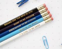 OMBRE BLUE GEEK Pencil Set Colourful Retro Hex Hand Pressed Gold Type Fun Geek Graduation Teacher Gift Nerd Geek Chic Back to School Exams