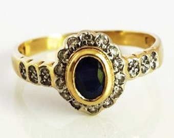 Classical Vintage Ladies Italian Design Blue Sapphire and Diamond Floral Cluster Engagement Ring in 18ct Yellow Gold FREE POSTAGE