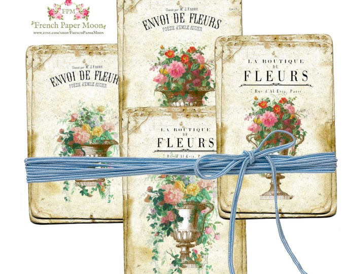 Vintage Shabby Digital Flowers, Printable French Flower cards, French Botanical Download, French Collage sheet