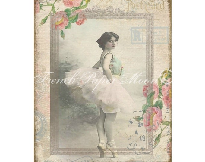 Vintage Digital Shabby Ballerina, Roses, Vintage Ballet Chromolithograph, French Pillow Graphic Transfer Image