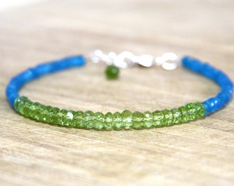 Natural Untreated Peridot and Neon Blue Apatite Bracelet in Solid Sterling Silver , August Birthstone, 16th Anniversary , Wedding , Canada