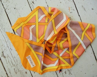 1960's, Hand Printed, Made in Japan, Marcella, MOD, AcetateTwill, Long Scarf