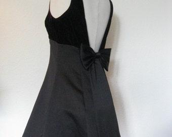 Vintage black velvet and satin Empire waist gown