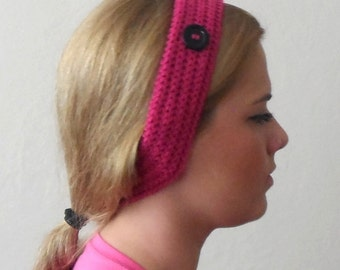 fuchsia pink knitted headband  buttons fuchsia  pink hair bands knit headband