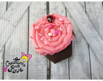 Cupcake Ribbon Sculpture Hair Clip. Cupcake Hair Clip.