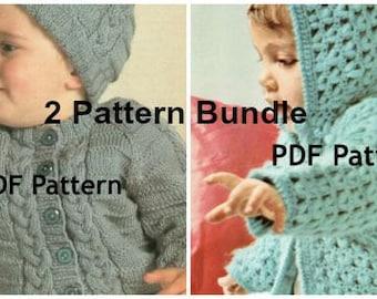 Vintage Toddler Knit Crochet Sweater Hoodie Hat Pattern Bundle Popcorn Stitch Cable Knit Jacket Digital Download