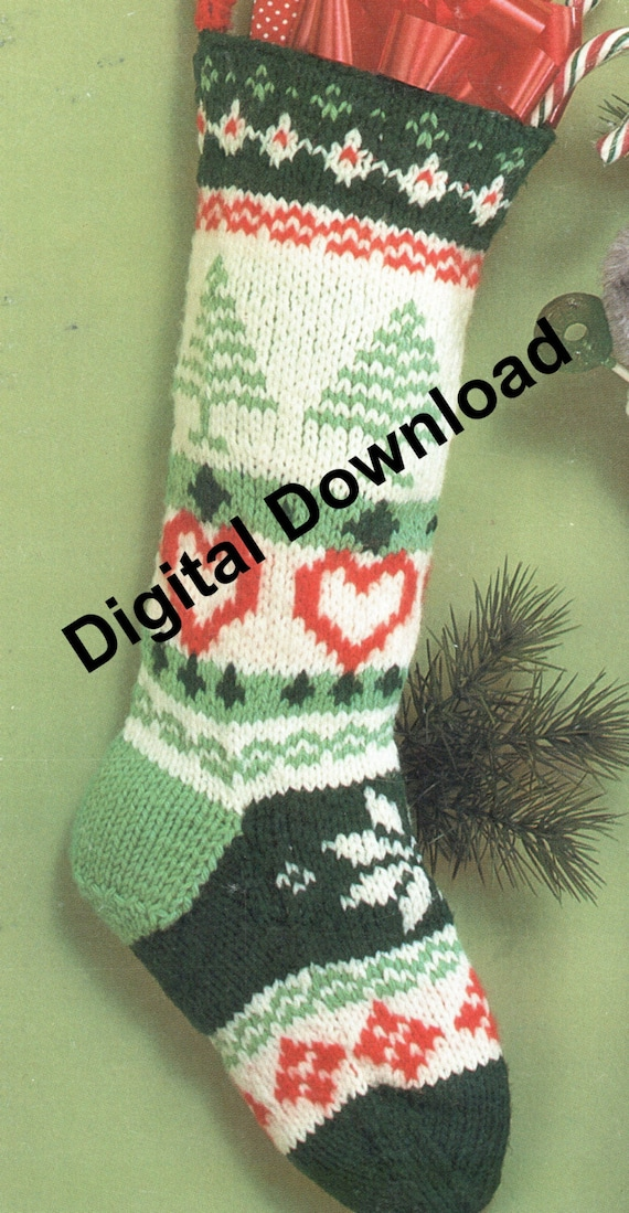 Knit Christmas Stocking Fair Isle, Vintage Christmas Sock, Holiday Decorating Pattern, PDF Instant, Digital Download, Retro