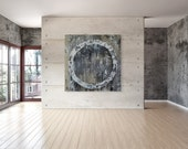 Large Abstract Circle Wall Art - 36x36 Black and White Painting on Canvas with Free Shipping