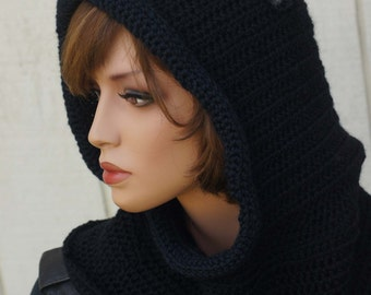 Crochet Pattern cat ear hoodie, Instand download, Hat How Crochet Cowl-cat scarf pattern