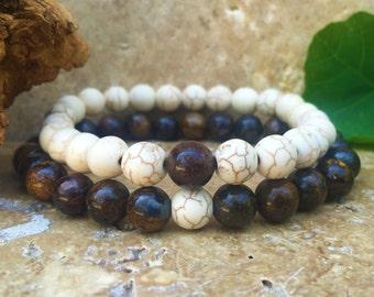 Couples Bracelets - Bronzite & White Howlite - Gemstone His Hers Bracelets - Matching Bracelets - Partners Bracelets