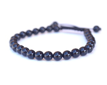Black Yoga Bracelet, Mala Beads, Black Onyx Bracelet, Wrist Mala, 27 Bead Bracelet, Healing Stones For Strength & Courage