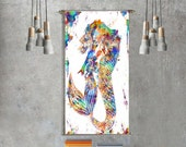 Gift for women mermaid gift for kids wall art girlfriend gift for her geometric print poster large art home decor tapestry wall hanging