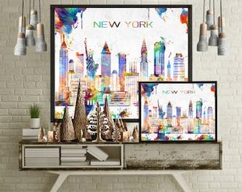New york city wall art poster print modern painting Illustration home decor san francisco art chicago skyline los angeles print abstract art