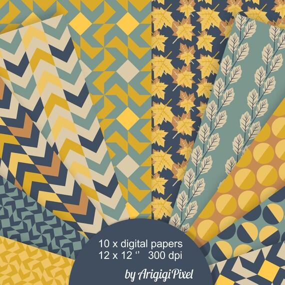 Fall Background Digital Paper, falling leaves, geometric, half half dots, arrows, blue yellow scrapbooking, fall paper download