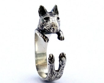 Sterling Silver Bull Terrier Ring, Dog Wrap Ring, Animal Wrap Ring, Sterling Silver Ring, Silver Rings, Animal Jewelry, Silver Jewellery