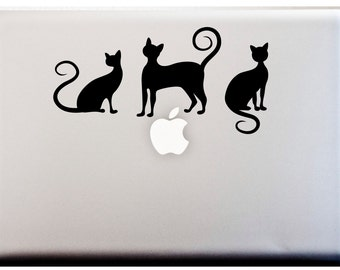 LAPTOP DECAL // Cat Silhouettes Decal Meow Kitty Stickers Curly Tails
