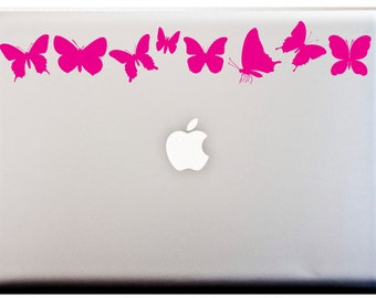 LAPTOP DECAL // Butterfly Silhouette Stripe Decal Butterflies Monarch Stickers CAR Decal