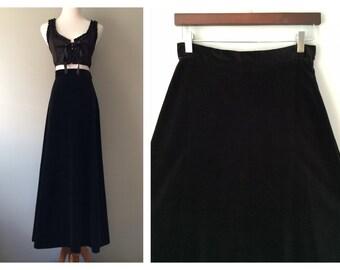 Vintage Long Skirt Black Velvet Skirt Maxi Skirt A-Line 1960s 1970s Gothic Skirt Vintage Solid Black Skirt High Waist Size Small Medium 6 8