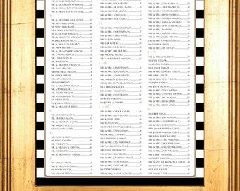 "Black and White Striped Seating Chart /Table Assignment for your Wedding or Special Event - Large 24"" x 36"" holds approx. 300 Guests"