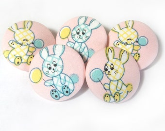 5 Fabric covered bunny buttons, Children buttons, pink yellow buttons, cloth buttons, medium buttons, animal buttons, patchwork fabric