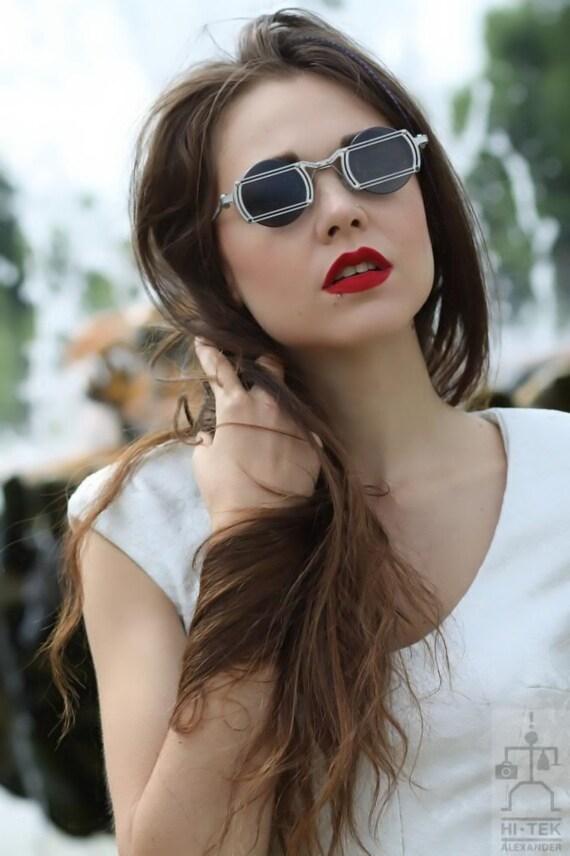 Hi Tek Alexander round sunglasses silver high quality stainlsteel frame flat lens