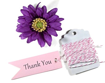 Small Thank You Favors Set of 20 - Light Pink Wedding Tags - Pink Wedding Flag Tags - Baby Pink Bridal Shower Tags  - Banner Gift Tags