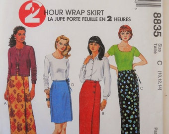 McCall's Sewing Pattern 8835 Misses' Wrap Skirt in Two Lengths in Size 10, 12, 14.