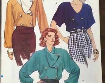 Vintage 1980s Shirt Blouse Pattern // Vogue 8139, sizes 8, 10, 12 > loose fitting, long or short sleeves, shoulder pads, unused