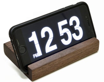 Wood iPhone Stand or Docking Station for Smart Phone - Handmade in USA - Black Walnut - Use with iPhone or Android - FREE SHIPPING