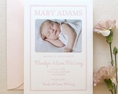 Letterpress Baby Birth Announcements with photos - 50 flat cards with envelopes - 1 ink color - custom, modern, pink, newborn, girl BA120