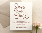The Thistle Suite - Letterpress Wedding Save the Date - Grey, White, Blush, Pink, Red, Modern, Boho, Simple, Invitation, Script, Calligraphy