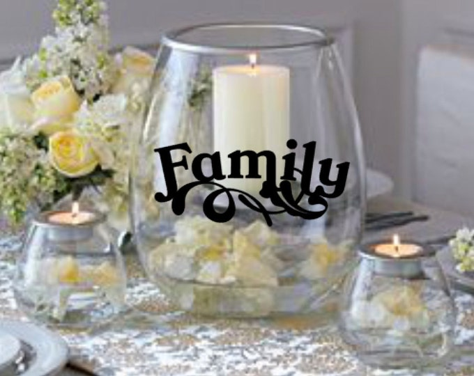 FAMILY Vinyl Decal, DIY Projects - Candle holder not included - Vinyl Decal Only for DIY Candle Holders, Vases, Mirrors, and more.