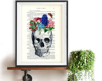 Skull Floral Print, vintage drawing, book art, day of the death, crown art, vintage art print, wall art, Halloween, gift for him, gothic