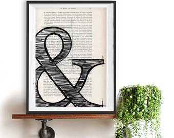 Ampersand print Black and white print vintage book page typographic print poster Wall art typography home decor Christmas Gift For Him