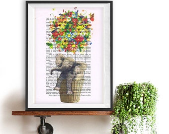 Flying Elephant art print, Colorful flowers balloon, DICTIONARY Print poster, Dorm decor, Home Wall decor, gift poster
