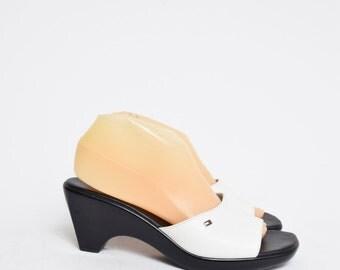 Vintage 90's White Leather Tommy Hilfiger Sandal Heels