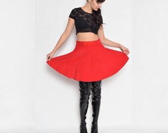 Vintage 90's  Full Circle Red Skirt