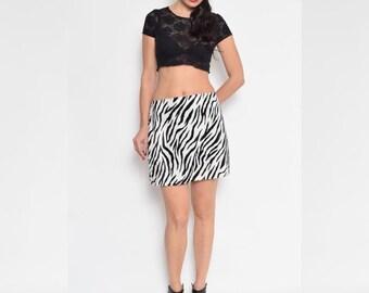 Vintage 90's Zebra Print Fuzzy Skirt