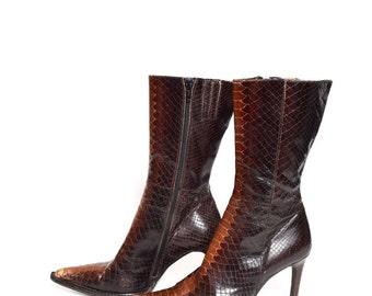 Vintage 90's Leather Snake Skin High Heel Boots