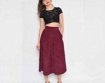 Vintage 80's Corduroy High Waist Pleated Skirt