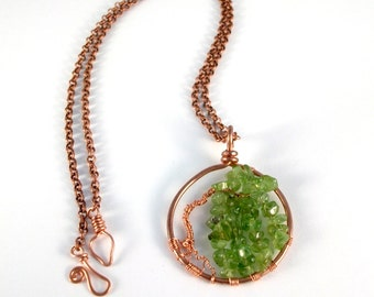 Willow Tree necklace, earthy Copper tree pendant with Peridot gemstone leaves