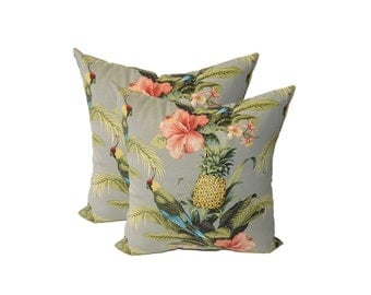 SET OF 2 - In / Outdoor Decorative Throw Pillows - Tommy Bahama - Grey Beach Bounty Tangelo - Tropical Bird, Pineapple, Floral - Choose Size
