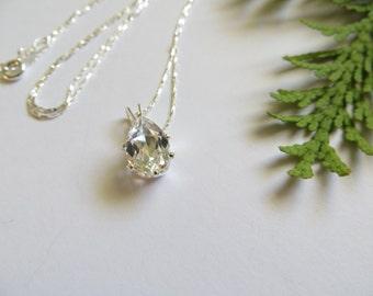 White Topaz Necklace, Sterling Silver Necklace, Semi precious gemstone necklace, April November birthstone necklace, Topaz Wedding Pendant
