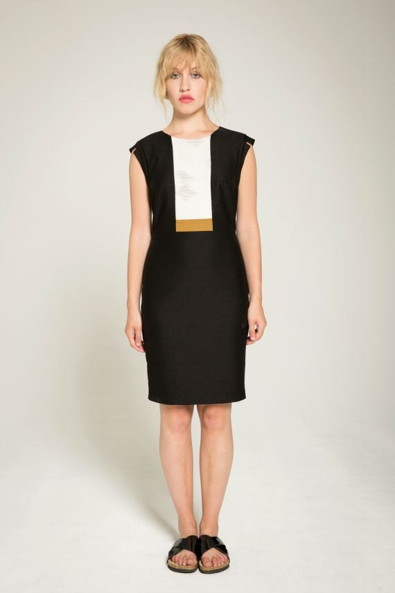DEAR SOUL - sleeveless tailored dress, working girl dress for women - black with ripped look