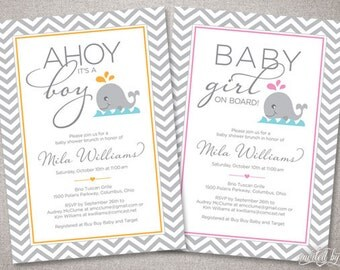 Nautical Chevron Whale Baby Shower Invitation - Boy or Girl - DIY Digital Printable or Printed Personalized Invite