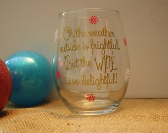 Christmas Stemless Wine Glass, Stemless Wine Glass, Christmas Wine Glass, Wine Lover Gift, Christmas Gift